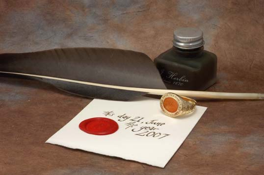 signet ring, quill pen, ink and seal